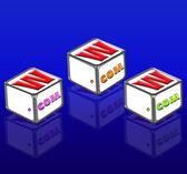 Drie brief blokken spelling www en com — Stockfoto