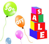 Sale brick and balloons — Stock Photo