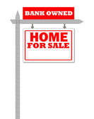 Real Estate home for sale sign, bank owned — Stock Photo