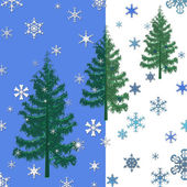 Christmas trees and snowflakes background — Stock Photo