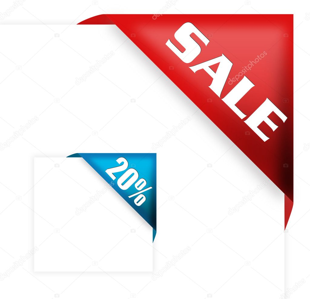 Red corner ribbon with sale sign and twenty percent off for your shop  — Stock Photo #4747387