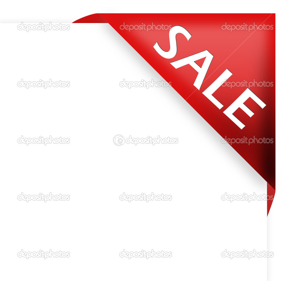 Red corner ribbon with sale sign — Stock Photo #4749209