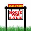 Stock Photo: Real Estate home for sale sign, bank owned