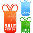 Hanging sale letter tags with clipping path — Stock Photo
