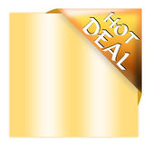 Golden corner ribbon with hot deal sign — Stock Photo
