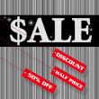 Sale sign and discount tag — 图库照片