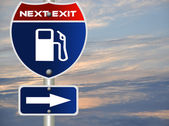 Gas station road sign — Stock Photo