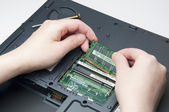 Installing new ram for your laptop — Stock Photo