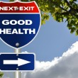 Stock Photo: Good health road sign with blue sky