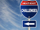 Challenges road sign with blue sky — Stock Photo