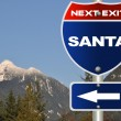Santa road sign - Stock Photo