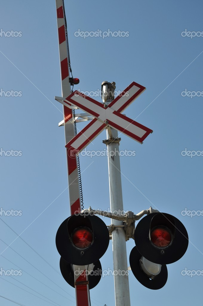 Close-up railroad crossing sign  — Stock Photo #5253574