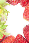 Fresh strawberries border — Stock Photo