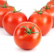 Fresh tomatoes made v word — Stock Photo