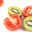 Fresh tomatoes and kiwi pattern — Stock Photo