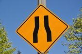 Narrow road sign — Stock Photo