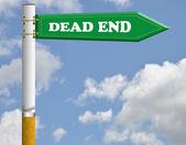 Dead end cigarette road sign — Stock Photo