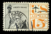 Old vintage usa postage air mail stamp liberty for All — Stock Photo