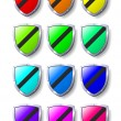 Stock Vector: Coloured Shields