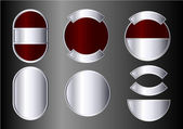 Set of red and silver badges — Stock Vector