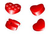 Kalp şeklinde kutular — Stok Vektör