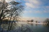 Winter snowy sunset — Stock Photo