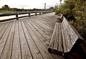 Wakamaw Valley Sunrise bench — Stock Photo