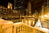 Chicago Downtown City Night Photography — Stock Photo