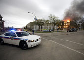 Fire in Building Saskatchewan Police Car — Stock Photo