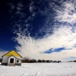 Stock Photo: Old Abandoned Homestead in Winter Saskatchewan