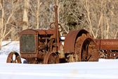 Antique Tractor in Winter — Stock Photo