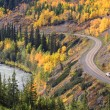 Autumn colored trees along mountain road in British Columbia — Stock Photo #4859170