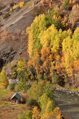 Native settlement along Tahltan River in British Columbia — Stock Photo