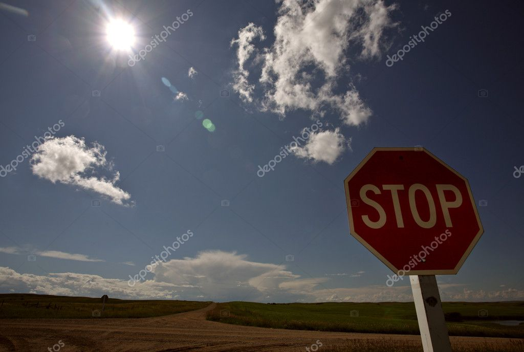 Stop sign at a Saskatchewan crossroads  Stock Photo #4904702
