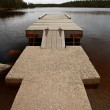 Boat dock on Northern Manitoba lake — Stock Photo