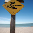 Stock Photo: Swimmers warning sign along beach of Lake Winnipeg