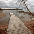 Dock on Reed Lake in Northern Manitoba — Stock Photo