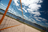 Volleyball net at Grand Beach in Manitoba — Stock Photo