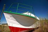Beached fishing boat near Riverton Manitoba — Stock Photo