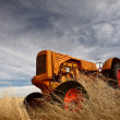 Tumbleweeds piled against abandoned tractor — Stock Photo #4950423
