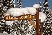 Snow packed on Lake Louise Drive sign — Stock Photo