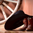 Cowboy hat leaning on small boots — Stockfoto