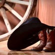 Stock Photo: Cowboy hat leaning on small boots