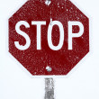 Hoar frost on STOP sign — Stock Photo