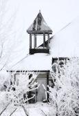 Abandonado edifício rural saskatchewan no inverno — Foto Stock