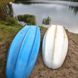 Two rowboats at Jade Lake in Northern Saskatchewan — Stock Photo