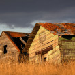 Deliapidated  farm granaries in scenic Saskatchewan — Stock Photo