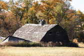 Collapsed barn in scenic Saskatchewan — Stock Photo
