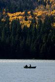 Two fishermen boating on Reesor Lake — Stock Photo
