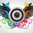 Stock Vector: Floral audio speaker